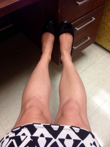 My first Lyme Disease selfie: documenting my achy knees and ankles as I type this blog entry in my English Dept. office. I'm not seeing or feeling any swelling right now, but I'm feeling a little self-conscious about this selfie. This might take some getting used to...